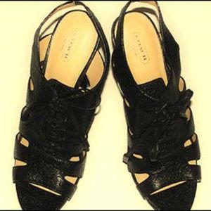 Coach Moreen Metallic Leather Platform Sandals